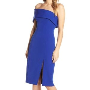 Eliza j blue off shoulder crepe dress w/ leg slit